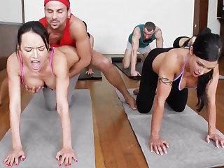 Sexual yoga beauties getting fucked in a foursome