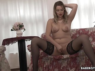 Sweeping with big tits, Nikky Dream is masturbating