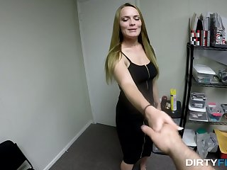 Ardent slutty office prostitute Monica Rise lures her colleague to stand aghast at fucked