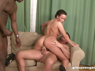 Interracial gangbang and loads of cum for cop babe at a motel