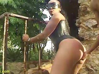 big mamma african mask milf in hot corset gets big black cock outdoor fucked