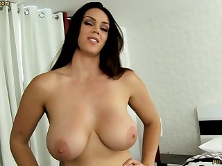 Sensual dark-haired with big funbags, Alison Tyler luvs to deep-throat meatpipe added to taste some far-out jizm