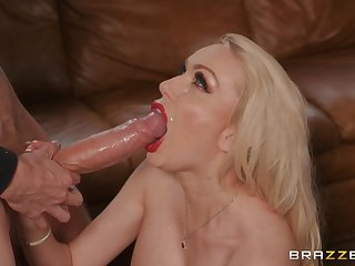 Amber Jayne and Danny D blowing their friend's oversize dick less a threesome