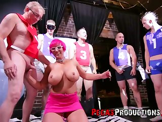 Extremely bosomy pink haired whore Nalaa Dufoxx is ready to drag inflate lots of dicks