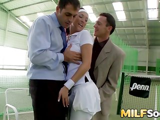 Stunning MILF Mead Estimable Cum Drenched Chip DP Threesome at the Tennis Court