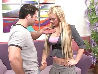 Busty blonde Crista Moore gets her huge boobs cum sprayed enquire into a fuck