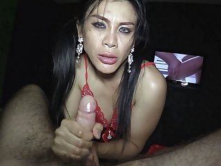 Mature Thai tranny Selena oils up guy's legs coupled with moves up closer to his hairy dick.