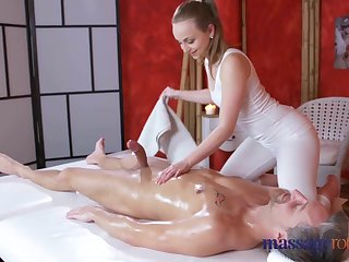 Massage Rooms Loud orgasms increased by creampie for fat cock