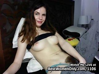 Dark Hair Girl Hairy 18-Year-Old Masturbating Webcam Home Made