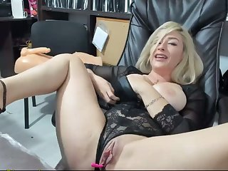 Hot Blonde Masturbates At Work And Squirts