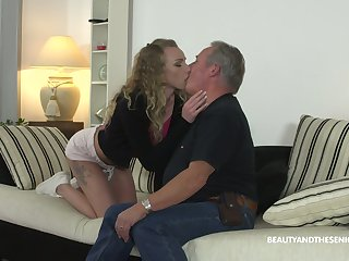 Fresh pussy of young comely hottie Angel Emily is fucked doggy by gaffer