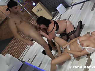 Chubby wives share a young cock for a wild session