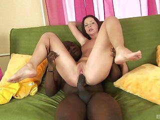 Delightful interracial with leader having it away her roughly
