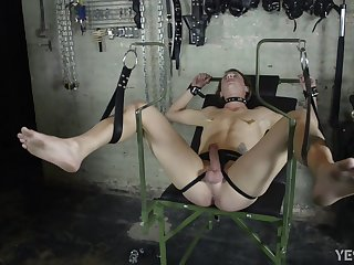 Submissive twink with reference to spanked and ass fucked BDSM style