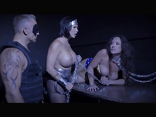 Shay Fox with busty Summer Show one's age and Christina Carters chained in BDSM action