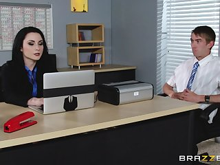 Veruca James fucked in her pussy and pain in the neck on the office table