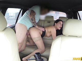 Deep doggy on dramatize expunge back seat and cock riding in dramatize expunge end