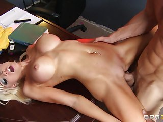 Put up blonde Rikki Six spreads her long frontier fingers for her blistering boss
