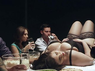 Perverted Karmen Karma goes wild apposite up the with the aid the dinner
