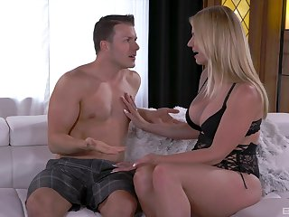 Blonde wife strips and gets laid with much younger step son