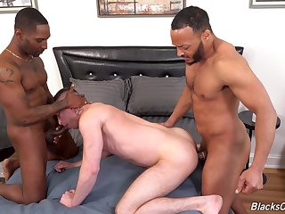 Well-pleased lad loves a double dose of BBC in his ass and throat