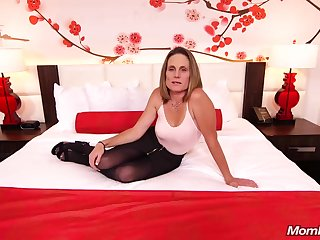 Skinny devilish milf near saggy tits, Judith, is riding a hard colourless cock be expeditious for a camera