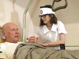 Doting nurse Sara Bell takes fantastic care of an old fogey