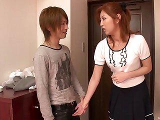 Cute Asian make obsolete Kazuki Asou drops on her knees to suck a dick