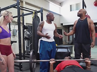Two black stallions ass fuck a petite kirmess down at the gym