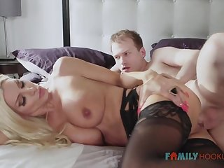 Sizzling blnde COUGAR is wearing softcore, dark-hued stocking while having fuck-a-thon with her spouse's have to do with