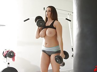 Beamy chick Alison Tyler works out and gets fucked balls deep