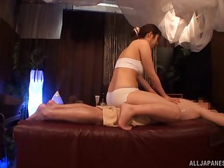 Lucky imbecile gets massaged by a sex Japanese unfocused who craves for cock