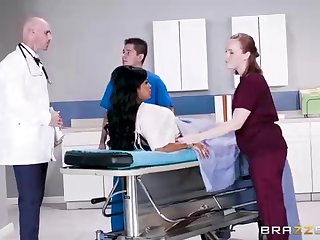 Buxom dark-hued woman with a adorable tat, Mary Jean is taking her doctor's Herculean man-meat, in his office