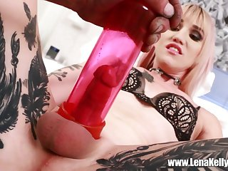 Tattooed tranny Lena Kelly can adjust long toys in their way penurious ass